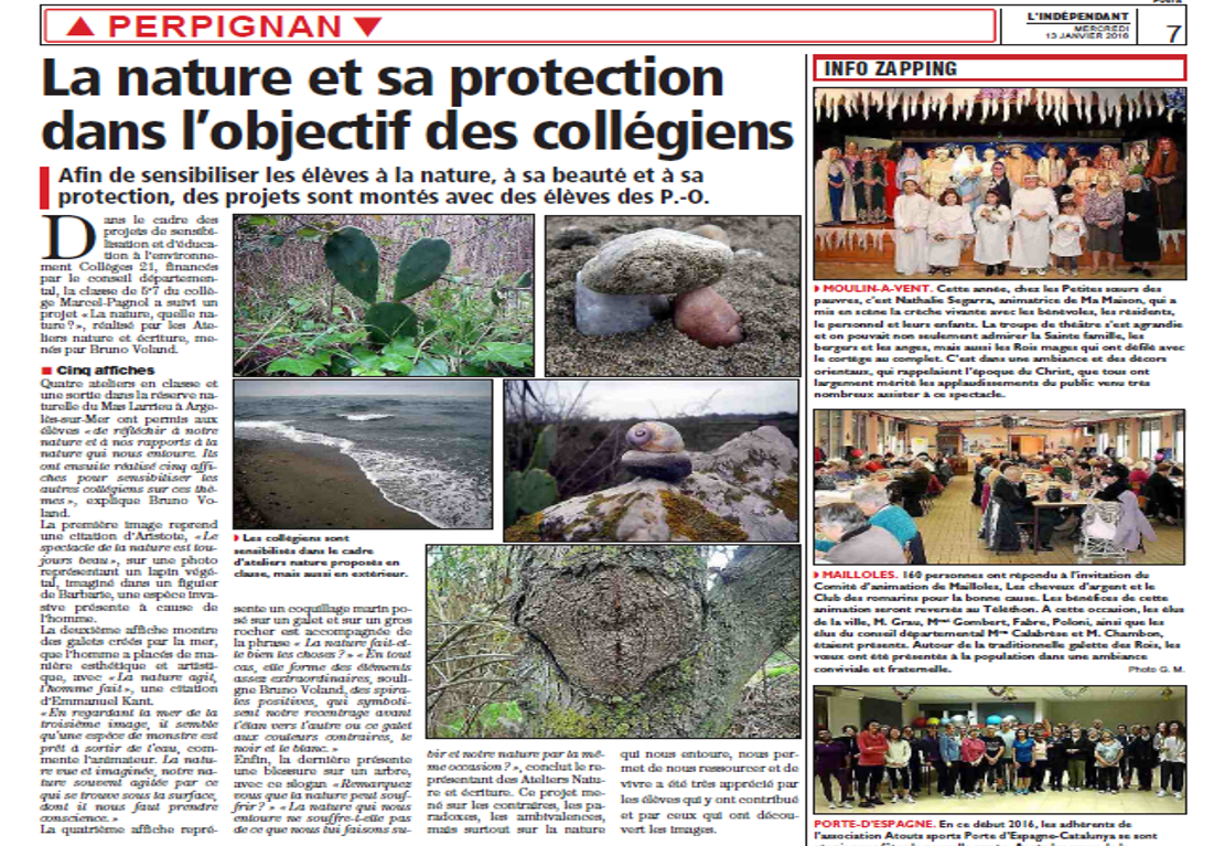 Article de l'Independant du 15 Janvier 2016